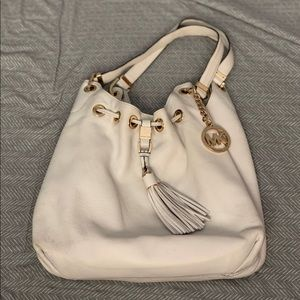 Michael Kors White Tote Bag with Gold Accents
